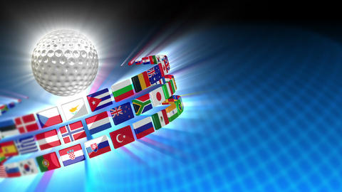 Golf Ball with International Flags 53 (HD) Animation