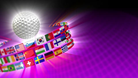 Golf Ball with International Flags 55 (HD) Stock Video Footage