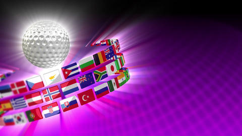 Golf Ball with International Flags 55 (HD) CG動画素材
