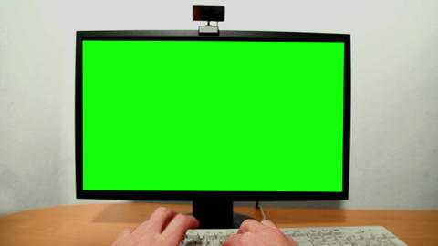 Green screen monitor and keyboard Stock Video Footage