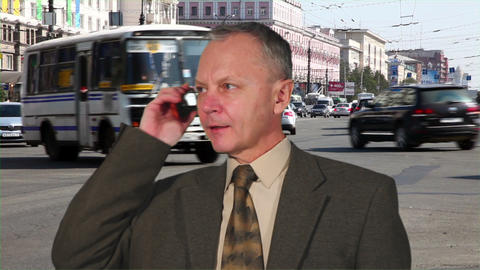 Businessman Talking On The Phone stock footage