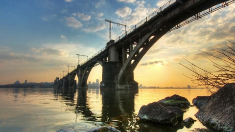hdr time lapse railway bridge at sunset Stock Video Footage