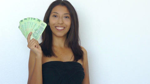 Waving 200 Mexican Pesos bills Footage