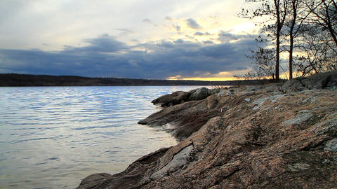 landscape of granite bank of the river Stock Video Footage
