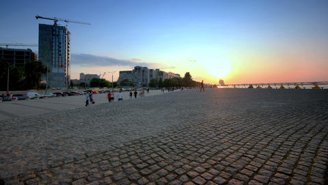 time lapse. Dnepropetrovsk waterfront at sunset. slider shot Stock Video Footage