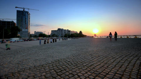 time lapse. Dnepropetrovsk waterfront at sunset. slider shot Footage