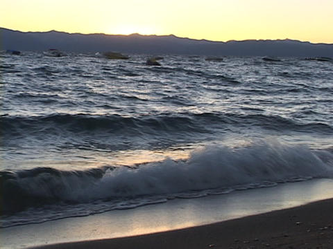 Waves lap the shore at Lake Tahoe Footage