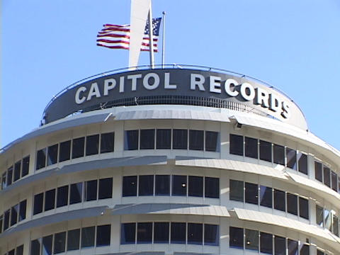 The Capitol Records building rises in Hollywood, California Footage
