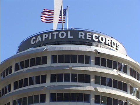 The Capitol Records building rises in Hollywood, California Stock Video Footage