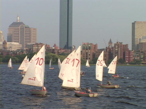 Sailboats sail on the Charles River in Boston Footage