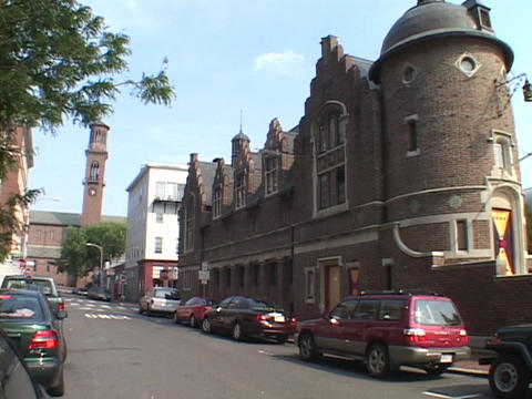 A historic building stands tall in Cambridge, Massachusetts Stock Video Footage