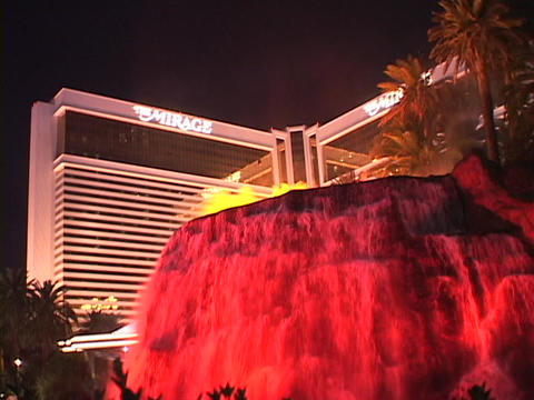 A volcanic fountain erupts in front of the Mirage Hotel and Casino in Las Vegas Footage