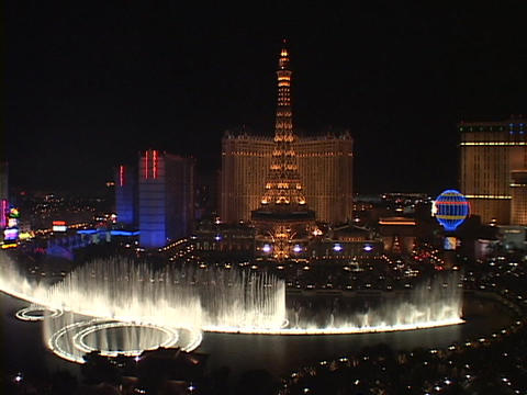 Fountains shoot water into the Las Vegas sky near the... Stock Video Footage
