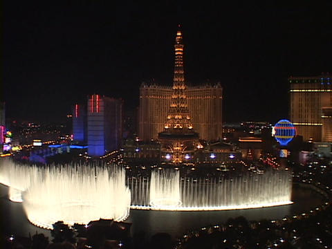 Fountains shoot water into the Las Vegas sky near the Paris Hotel and Casino Footage