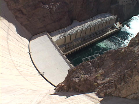 Water churns far below the Hoover Dam Stock Video Footage