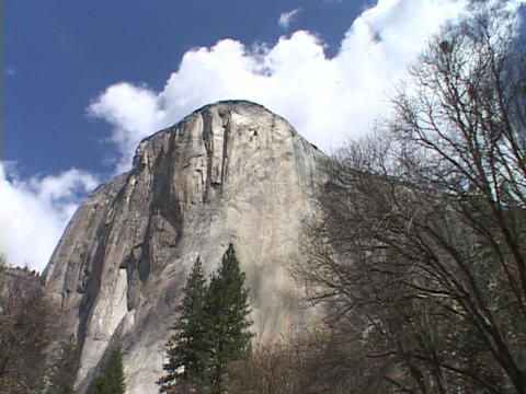 The majestic El Capitan towers above Yosemite National Park Footage