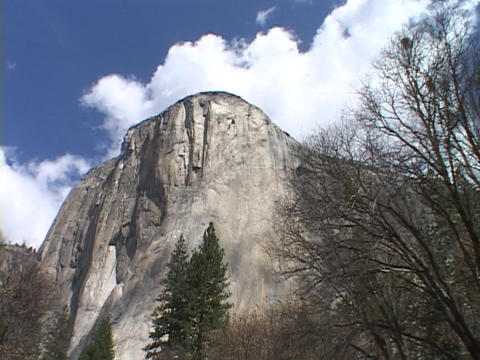 The majestic El Capitan towers above Yosemite National Park Stock Video Footage