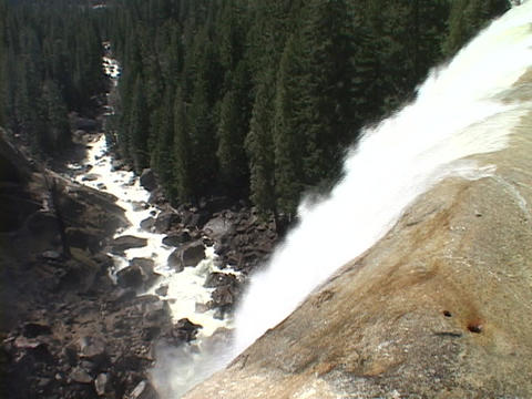 Vernal Falls goes over a cliff in Yosemite National Park Stock Video Footage