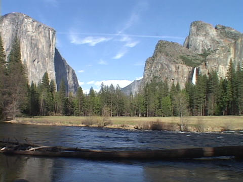 A river flows through Yosemite National Park Stock Video Footage