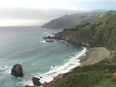 Waves crash on the central California coast near Big Sur Footage