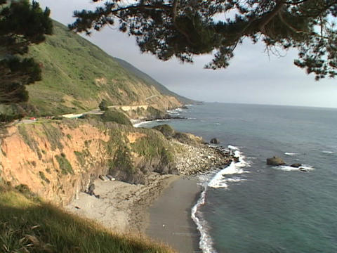 Waves pound the California coastline near Big Sur Stock Video Footage