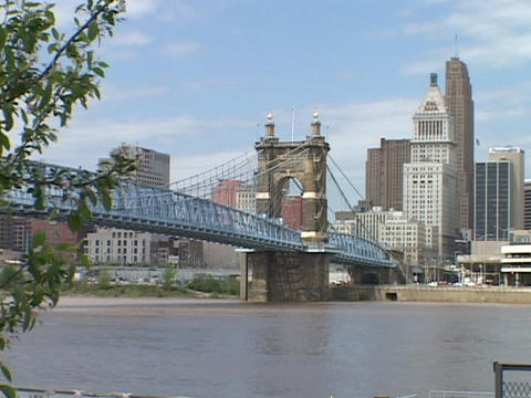 A bridge spans the Ohio River in Cincinnati Footage