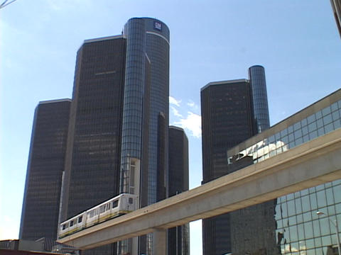 A monorail moves people through downtown Detroit Footage