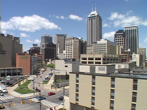 Traffic moves through downtown Indianapolis Stock Video Footage