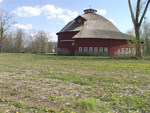 An Amish style barn stands at an Indiana farm Footage