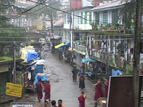 Rain falls on the Buddhist village of Dharamsala, India Stock Video Footage