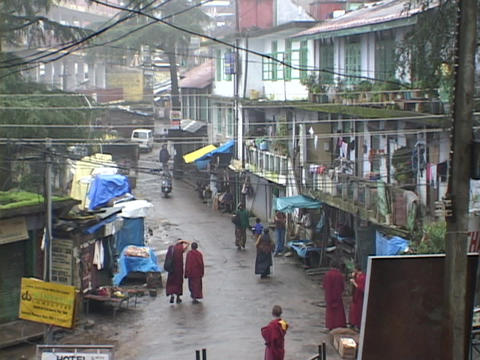 Rain falls on the Buddhist village of Dharamsala, India Footage