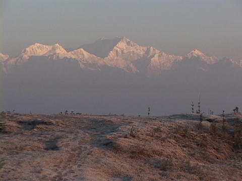 Snow covers the distant Himalayan mountain range Footage