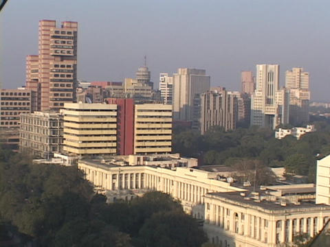 Buildings rise in the skyline of New Delhi, India Stock Video Footage