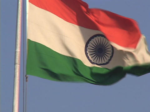 The Indian flag waves in the breeze Stock Video Footage