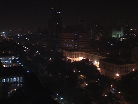 Lights shine in the New Delhi skyline Stock Video Footage