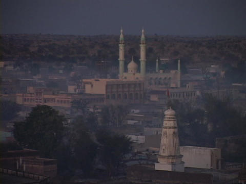 A mosque stands in skyline of Rajasthan, India Footage