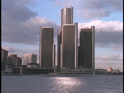 The Renaissance Towers dominate Detroit's skyline Footage