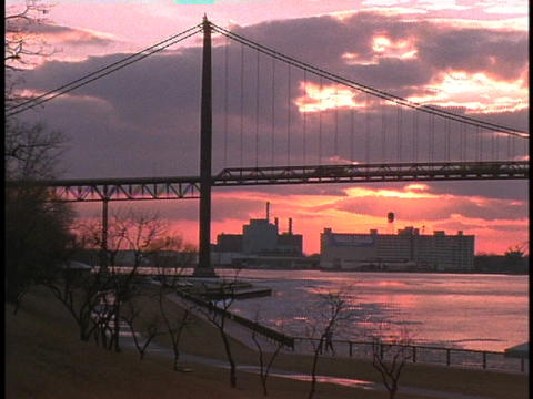 Ambassador Bridge links the US and Canada at Detroit and Windsor Footage