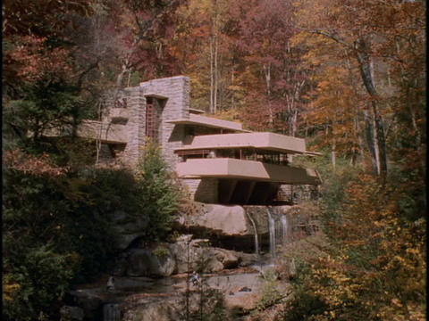 Autumn woods frame Frank Lloyd Wrights Falling Water house Footage