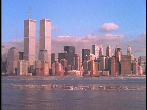 The World Trade Center towers above the New York skyline Stock Video Footage