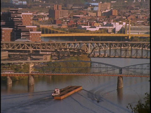 Traffic crosses bridges in Pittsburgh, Pennsylvania Footage