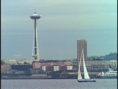 Seattle's Space Needle towers above the waterfront Stock Video Footage