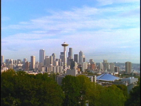 Seattle's Space Needle towers above the skyline Stock Video Footage