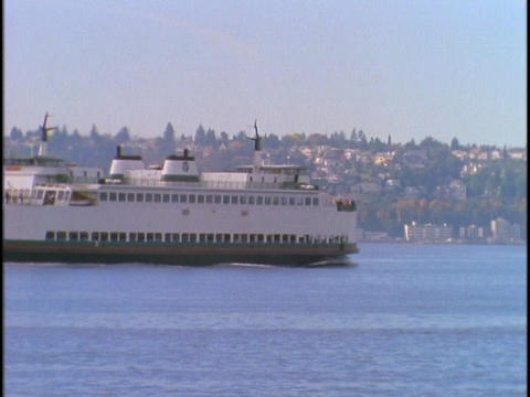 A Seattle ferryboat crosses Puget Sound Stock Video Footage