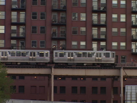 The El Train passes through Chicago Footage