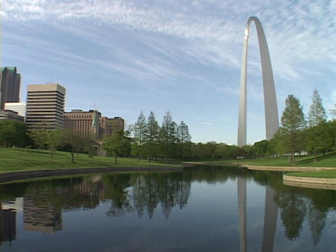 A pond reflects the St. Louis Arch Footage