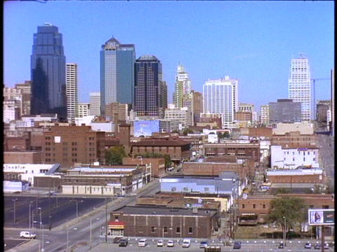 Skyscrapers rise above downtown Kansas City, Missouri Stock Video Footage