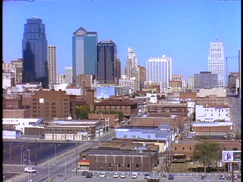 Skyscrapers rise above downtown Kansas City, Missouri Footage