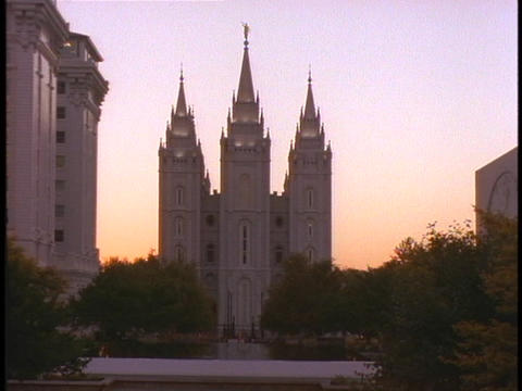 The Mormon Temple rises above Salt Lake City, Utah Stock Video Footage