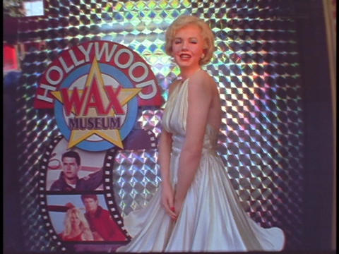 A diorama of Marilyn Monroe decorates the Hollywood Wax... Stock Video Footage